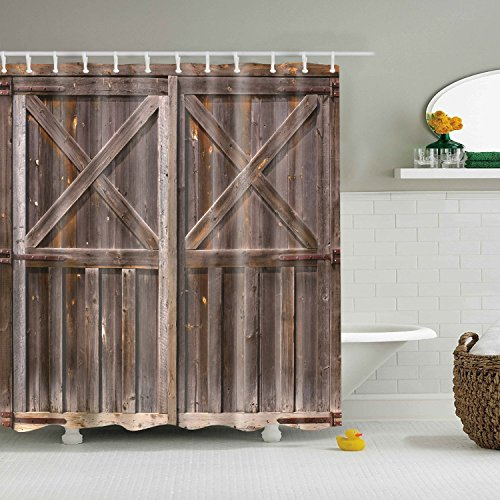 Bathroom Oak (Hibbent Old Wooden Barn Door Shower Curtain, Rustic Antique Wood Door of Farmhouse Oak Countryside Village Board Rural Life Photo Print, Fabric Bathroom Curtain - 72 x 72 Inch)