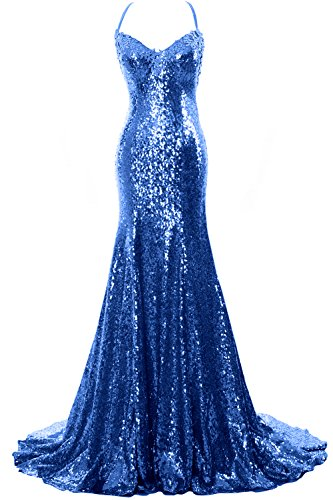 Gown Prom Wedding Royal Sexy Women V Mermaid Formal Gown Party Neck Sequin Blue MACloth IqC1tpWwt
