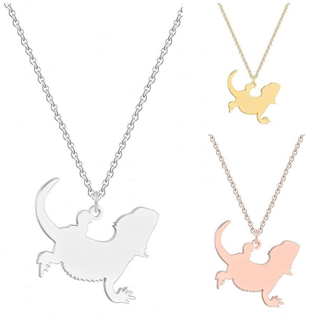 QIAMNI Novelty Animal Lizard Pendant Necklace Pet Reptile Bearded Dragon Necklace Collars Souvenir Lovers Birthday Gift