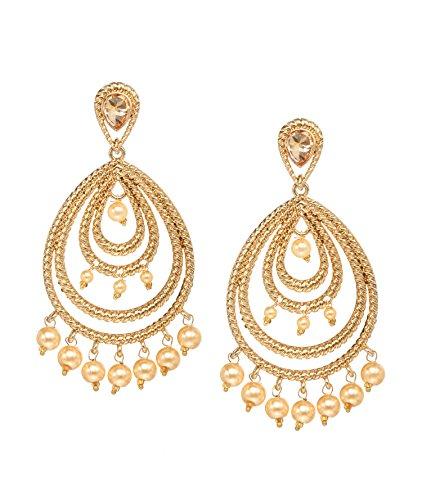 (Bindhani Indian Traditional Bollywood Jewelry Fashion Ethnic Bride Bridesmaid Bollywood Bridal Gold Plated Wedding Jewellery Peacock Chandbali Kundan Stone Faux Pearl Dangle Drop Earrings For Women)