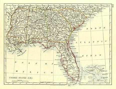 Amazoncom USA DEEP SOUTH Florida South Carolina Georgia Alabama - Usa map florida