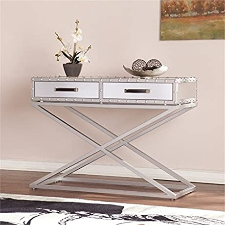 Bowery Hill Industrial Mirrored Console Table In Silver