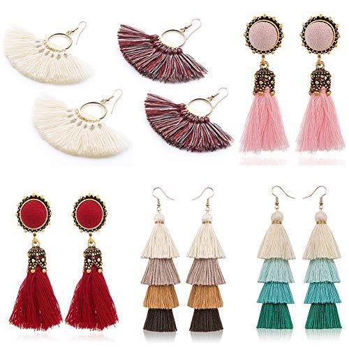 (6 Pairs Earrings Bohemian Colorful Long Layered Drop Earring Tassel Hoop Fringe Bohemian Tiered Tassel Drop Earrings Gift Set for Girls Women)