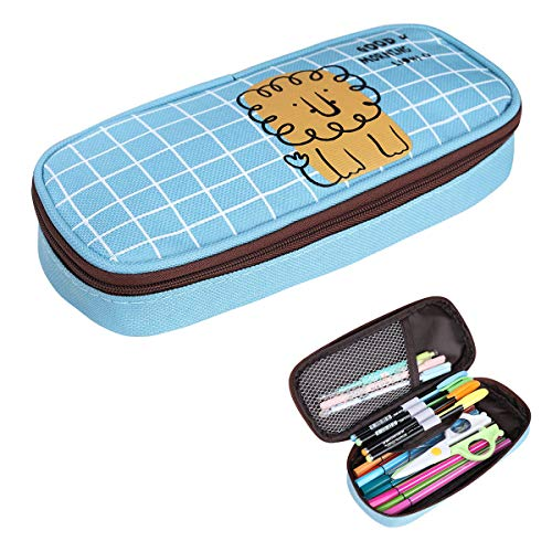 BOMKEE Canvas Pencil Case High Capacity Pencil Bag Pouch School and Office Pen Holder Supplies Makeup Brush Bags Travel Kit Organizer (Lion)