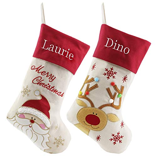WEWILL Personalized Christmas Stockings Home Decorations Stockings for Family (Color 1) (Christmas Socks Decoration)