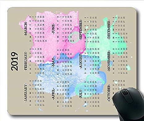 Yanteng Cojín de ratón Calendario 2019 Personalizado, Calendario 379 Cojín de ratón para Juegos, planificador de Calendario 2019 con Detalles de Vacaciones