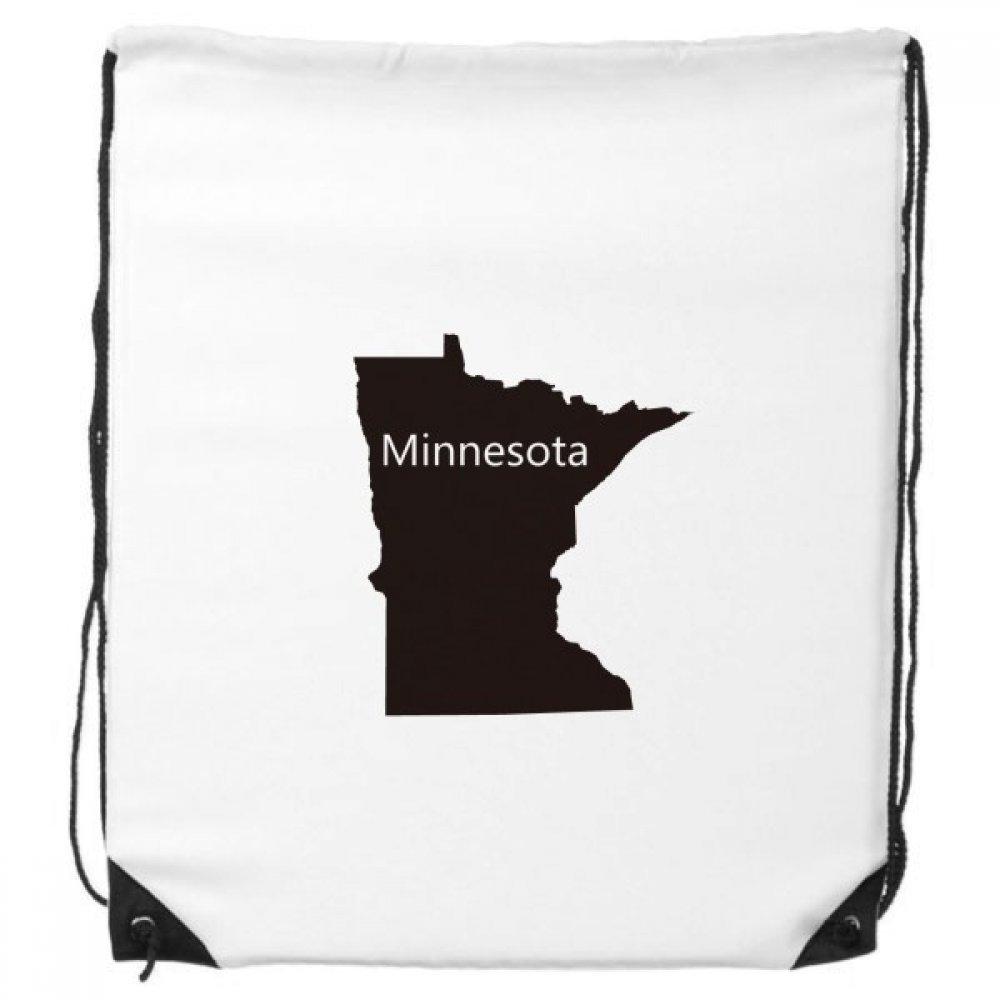 Minnesota the United States of America USAマップシルエットDrawstringバックパックFine Linesショッピングクリエイティブハンドバッグギフト肩環境ポリエステルバッグ B06XXYW38Y