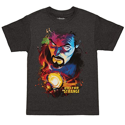 Doctor Strange Watercolor Face Adult T Shirt   Charcoal  Small