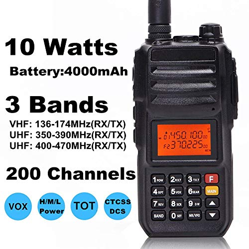 High Power 10W Tri-Band Ham Radio,Portable Long Range Walkie Talkies for Adults,4000mAh Rechargeable Li-ion Battery,200 Channel Two-Way Radios Built-in VOX Amateur Handheld Transceiver with Headset by FEILESS (Image #1)