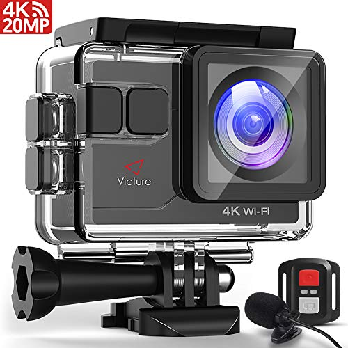 Victure AC700 Action Camera 4K Wi-Fi 20MP 130FT(40M) Waterproof Underwater Camcorder with Remote Control and External Mic