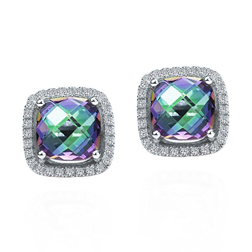Classy Square Frame Mystic Topaz & Cubic Zirconia .925 Sterling Silver Stud Earrings -