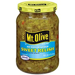 Mt. Olive No Sugar Added Sweet Relish 16 Oz (Pack of 3)