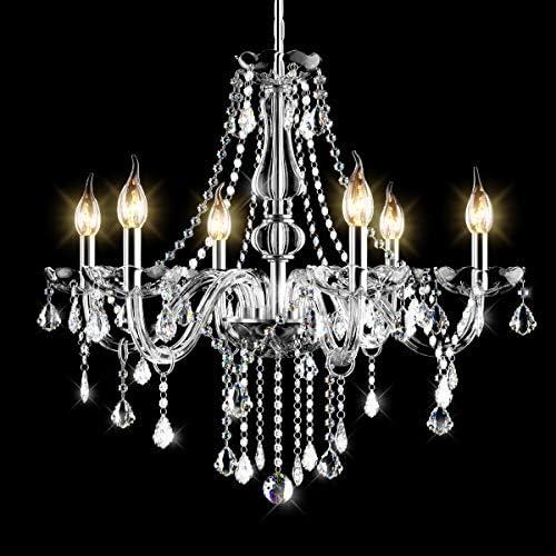 Tangkula Crystal Chandelier, 6 Light Ceiling Lighting Fixture, Vintage Style Crystal Pendant Lamp for Bedroom Dining Living Room, Flush Mount, Elegant Crystal Raindrop Chandelier Transparent
