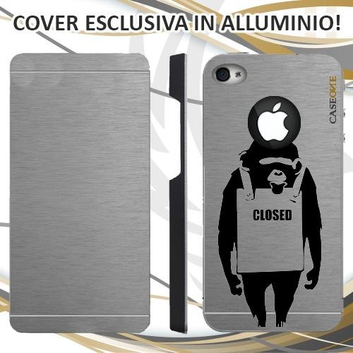 CUSTODIA COVER CASE CLOSED SCIMMIA PER IPHONE 4S ALLUMINIO TRASPARENTE