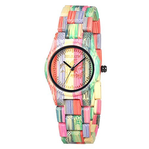 SILILUN Women Bamboo Watch Colorful Lady Wood Wrist Watch Light Weight Handmade Wooden Watches