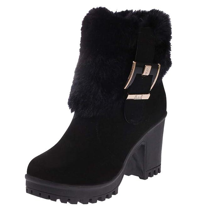 JiaMeng Moda Zapatos de Mujer Botines Mujer Botas Zapatos de Mujer Botas de Felpa Navidad Tubo Corto Grueso con Hebilla de Arranque Caliente: Amazon.es: ...