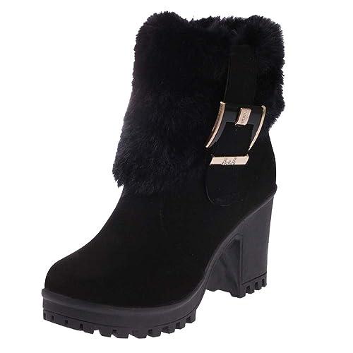 Ansenesna Stiefel Damen Gefüttert Rot Winter Warm Schuhe Mit Absatz Wildleder Mode Vintage Elegant Blockabsatz Stiefeletten Für Frauen