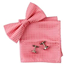 Pink Checkered Silk Pre-tied Bowtie, Cufflinks, Hanky Gift Box Set hot pink gift husband Pointe BT2037 One Size Hot Pink