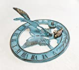 Brass Butterfly Sundial 8'' Inches Wide - With 2 Little Ducks