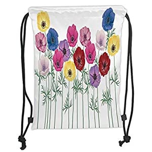 Anemone Flower,Group of Graphic Colorful Flowers on Branches Blooming Field in Summer Theme Decorative,Multicolor Soft Satin,5 Liter Capacity,Adjustable S 65