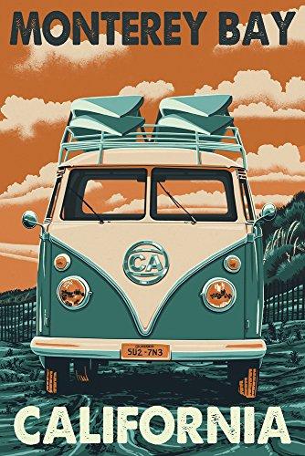 Monterey Bay  California   Vw Van   Letterpress  12X18 Art Print  Wall Decor Travel Poster