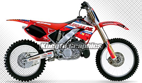 Kungfu Graphics Lucas Oil Custom Decal Kit for Honda CR125 CR250 2000 2001, Black Red - Replica Honda Graphic
