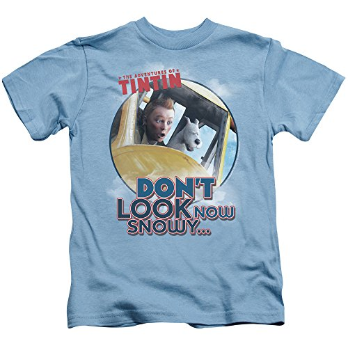Tintin Dont Look Now Unisex Youth Juvenile T-Shirt for Girls and Boys, Large (7) Carolina Blue