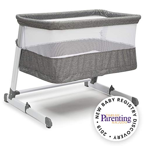 Simmons Kids Room2Grow Newborn Bassinet to Infant Sleeper, Grey Tweed (Best Bassinet For Small Spaces)