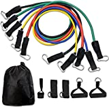 CUXUS 11 pcs Resistance Band Set,with 5 Exercise Bands,Door Anchor,Foam Handles,Ankle Straps and Waterproof Carrying Case, For Resistance Training, Physical Therapy, Home Gyms Workouts Fitness Yoga