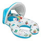 Water Sports WD Inflatable Mother Baby Swimming Ring Swim Pool Water Seat Float with Canopy Sunshade
