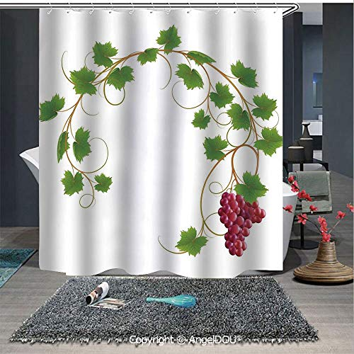 AngelDOU Grapes Home Decor Fashion Styles Printed Shower Curtain Curved Ivy Branch Deciduous Woody Wines Seed Clusters Cabernet Kitchen for Home Hotel Club Bathroom Decoration