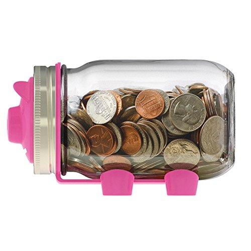 Jarware 82600 Piggy Bank Lid for Regular Mouth Mason Jars, Pink (Pink And Blue Mason Jars)