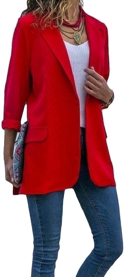 FieerWomen Work Notch Lapel Solid Silm Big Pockets Suit Coat Blazer