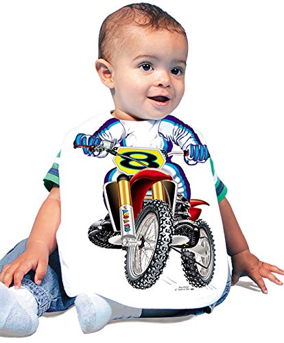 Just Add A Kid Baby Boy's Motocross 423 Baby Bib 0-6 Months White