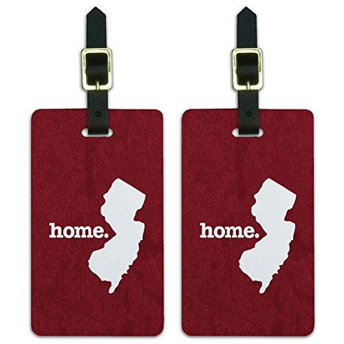 State Luggage Tag (New Jersey NJ Home State Luggage Suitcase ID Tags Set of 2 - Textured Maroon)