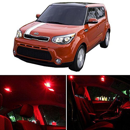 cciyu 13 Pack Red LED Package Kit LED Interior Lights Accessories Replacement Parts Replacement fit for 2010-2017 KIA Soul Soul EV