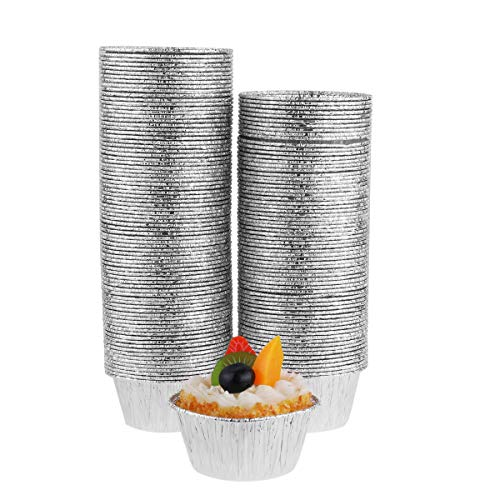 CHICTRY 150Pcs Aluminum Foil Muffin Cupcake Ramekin Cups Disposable Non-Stick Mini Round Shape Cake Dessert Quiche Tarts Baking Tin Pans Silver One Size