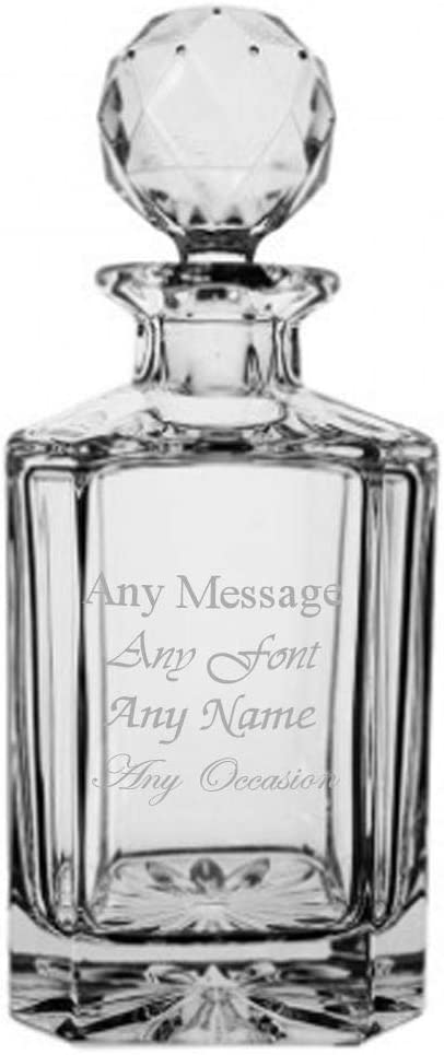 Personalised Engraved 0.8ltr Crystalite Square Spirit Decanter Gift Birthday Christmas Wedding