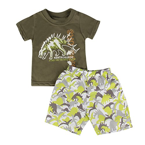 [Puseky Toddler Baby Boys Cartoon Dinosaur T-shirt and Shorts Summer Outfits Set (3T-4T, Army Green)] (Cute Army Outfits)