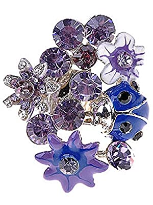 Alilang Womens Adjustable Multicolor Crystal Rhinestone Floral Flower Garden Cluster Womens Statement Ring