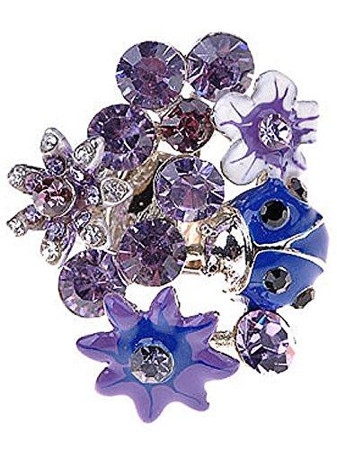 Alilang Womens Adjustable Silvery Tone Purple Rhinestones Spring Floral Flowers Ladybug Ring