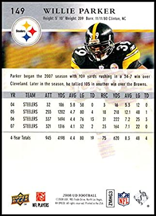 2ee95e68b76 2008 Upper Deck  149 Willie Parker NM-MT Pittsburgh Steelers Official NFL  Football Trading