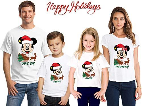 Disney Matching Christmas Pajamas Family, Matching Family Xmas Shirts,Personalized Mickey Xmas Tshirts Set,Disney Reindeer Xmas Tree,Cr6