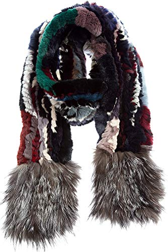 Knitted Rex Rabbit Fur Scarf with Silver Fox Fur Fringe -