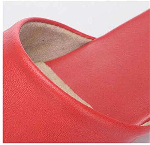 Rouge Soft Light Men W Leather and Wooden Autumn Women for Slippers Super Spring Summer Floor Fiber TELLW ABSWqAa