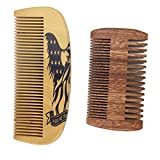 Handmade and Premium Bidirectional Beard Brush Wooden Comb- Best Quality Pocket Size Comb- For Uniform Beard And Mustache Growth and Eliminates Tangles, Frizz and Static,Design American Flag Eagle