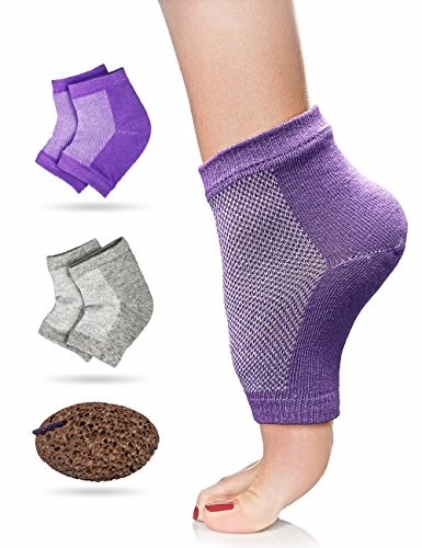Klondermann Cracked HeelTreatment with 2 Pairs Moisturizing Socks and 1 Foot Pumice = Repairs Dry Feet, Cracked Heels, Calluses, Rough Skin, and Enhances Your Favourite Lotions and Creams