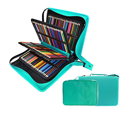 200 + 16 Slots Pencil Case & Extra Pencil Layer Holder - Bundle for Prismacolor Watercolor Pencils, Crayola Colored Pencils, Marco Pens and Cosmetic Brush by YOUSHARES (216 Slots Green)