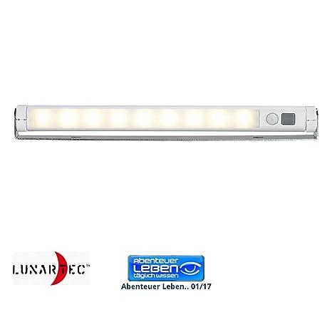 Lunartec - Regleta automática de LEDs (con sensor de movimiento), tono blanco cálido