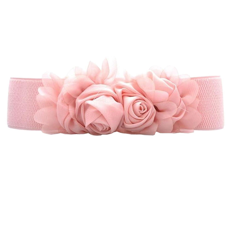 Deercon Women Rose Flower Wide Elastic Waistband Waist Dress Belt(7 Colors)